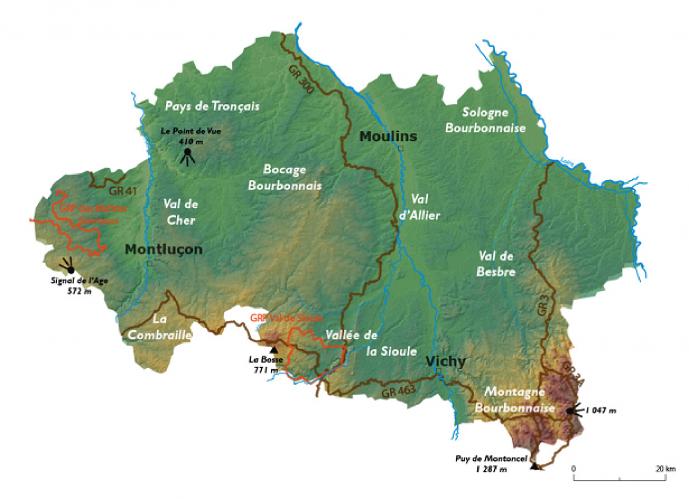 carte randonnée Allier