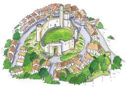 Dessin ville de Billy et sa forteresse dans l'Allier