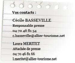 contacts presse Allier Tourisme